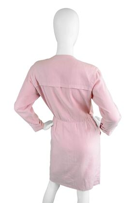 Yves Saint Laurent 1980s Baby Pink Linen Dress