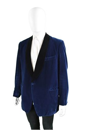 Harrods 1960s Mens Midnight Blue Velvet Jacket