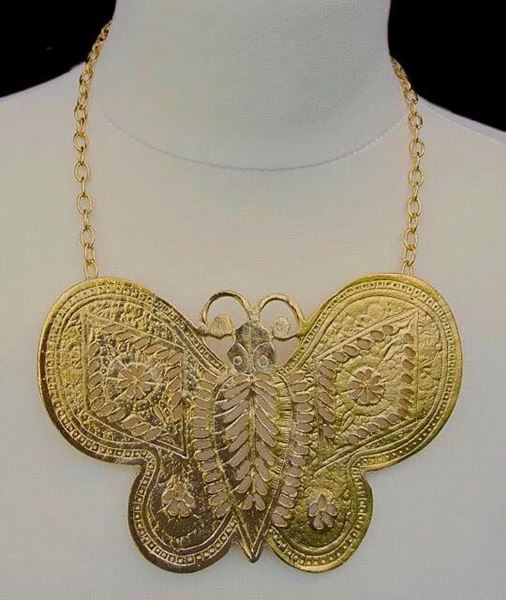 Picture of Modern Kenneth Jay Lane Large Gold Tone Butterfly Statement Necklace