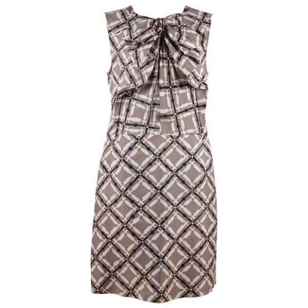 Picture of Marni Silk Sleeveless Gray White Black vintage Sheath Dress