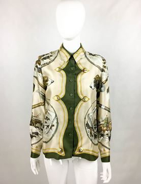 Hermes 70s Green Hunting Scene Silk Blouse