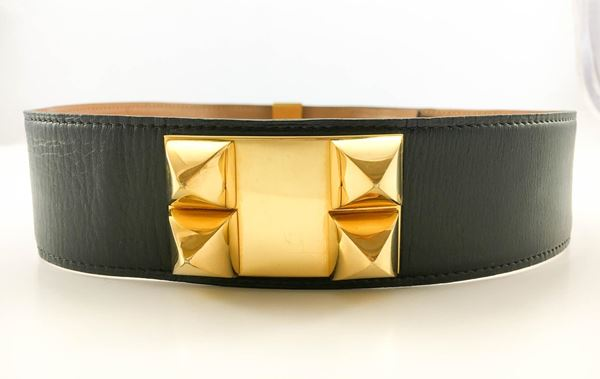 hermes-collier-de-chien-black-leather-and-gold-plated-hardware-belt-1986