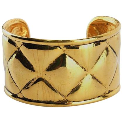 chanel-gold-toned-plate-quilted-wild-cuff-bangle