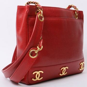 Chanel Caviar CC Mark Plate Red Tote Bag