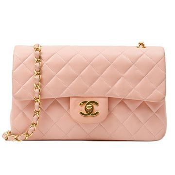 Chanel Pink Classic Flap Chain Bag 23cm