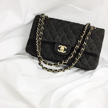 Picture of Chanel Black Denim Classic Flap Chain Bag 25cm