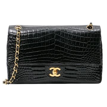 Chanel Black Crocodile Double Flap CC Turn-lock Chain Bag