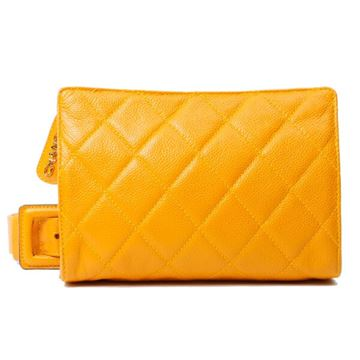 Chanel Caviar Skin Logo Charm Yellow Waist Bag