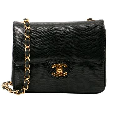 Chanel Black Lizard Turn-Lock Mini Chain Shoulder Bag