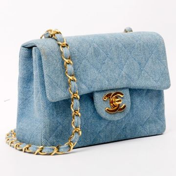 Chanel Denim CF Chain Mini Light Blue Shoulder Bag