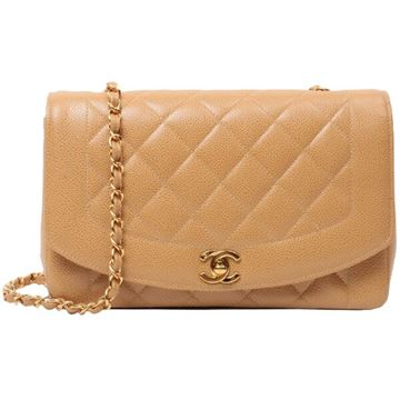 Chanel Caviar Skin Diana Flap Chain 25cm Beige Shoulder Bag