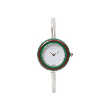 Gucci Silver Interchangeable Bezel Watch With 4 Colors