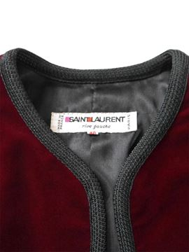 YVES SAINT LAURENT Vintage Burgundy Red Velvet Bolero Jacket Size M