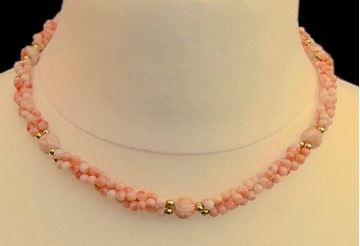 Vintage 1980s Twisted Triple Strand Coral Bead Necklace