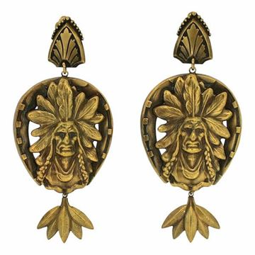 Joseff of Hollywood 1950s Russian Gold Plate Native American Vintage Earrings