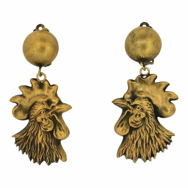 Joseff of Hollywood 1950s Russian Gold Plate Vintage Rooster Earrings
