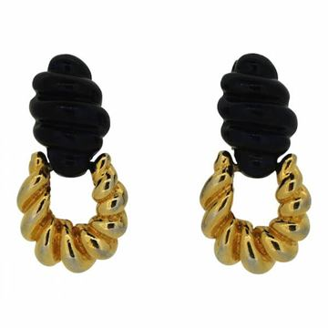 Kenneth Jay Lane 1970s Navy and Gold Tone Vintage Earrings