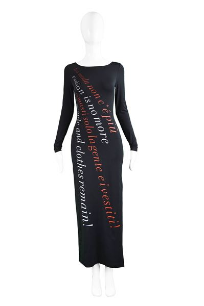 Moschino 1990s 'Fashion is No More' Vintage Maxi Dress