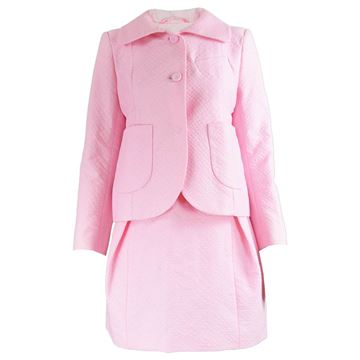 Unworn Carven Paris Pink Cotton Skirt Suit