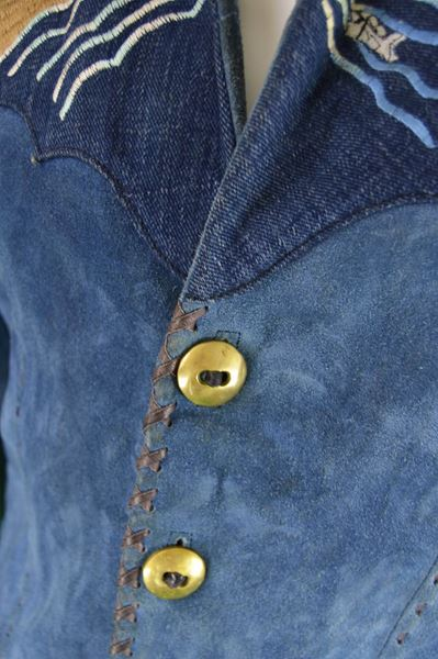 Handcrafted 1970s Men's Suede & Denim Jacket