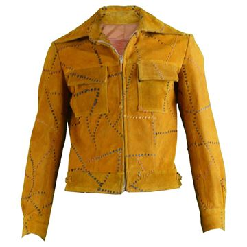 Handcrafted 1970s Men's Tan Suede Stitch Jacket