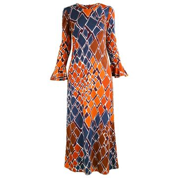 Clobber by Jeff Banks 1970s Diamond Print Vintage Dress