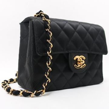 Chanel Silk Satin CF Chain Black Mini Shoulder Bag