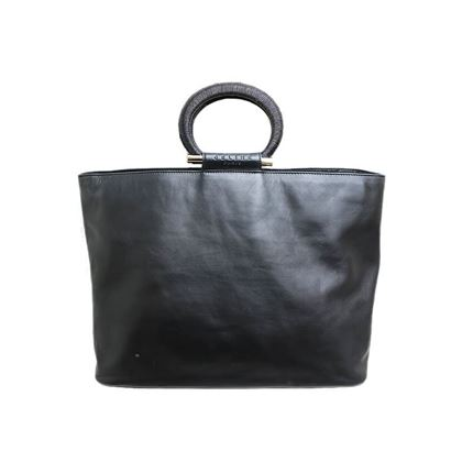 celine-gancini-handle-logo-leather-hand-bag