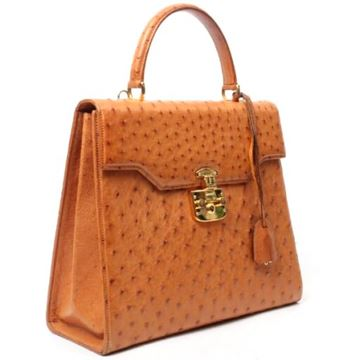 Gucci Ostrich Lady Lock 2way Brown Top Handle Bag
