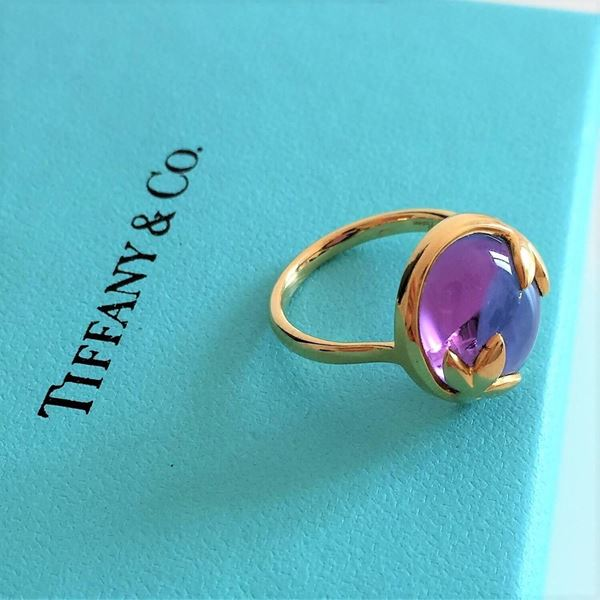 Tiffany Olive Leaf Ring by Paloma Picasso in 18kt Gold & Amethist