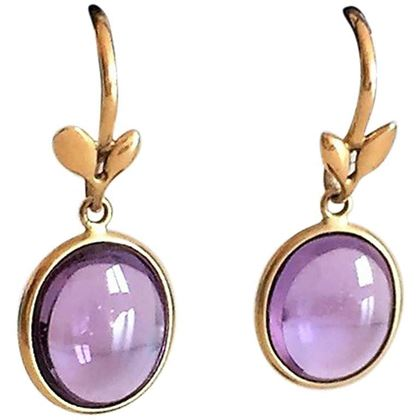 Tiffany Olive Leaf Earrings by Paloma Picasso in 18kt Gold & Amethist