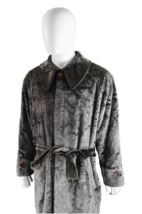 Calugi E Giannelli Grey & Black Men's Vintage Faux Fur Coat