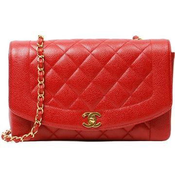 Chanel Red Caviar Diana Flap Shoulder Bag 25cm