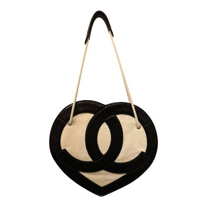 "Rare Chanel Terry ""CC"" Heart Shaped Shoulder Bag"