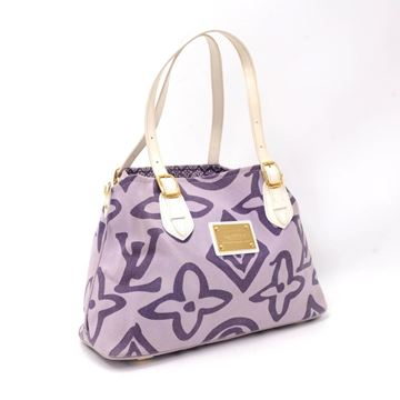 Picture of Rare Louis Vuitton Tahitienne Cabas PM White Leather & Purple Cotton Tote Handbag