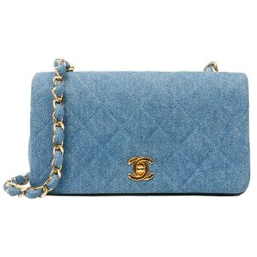Chanel Blue Denim Full Flap Mini Shoulder Bag
