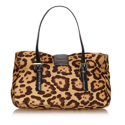 Brown Fendi Harako Leopard-Print Handbag