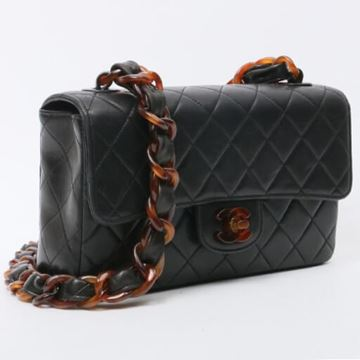 Chanel Black Classic Flap Tortoiseshell Chain Shoulder Bag 23