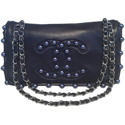 Chanel Navy Blue Leather Pearl Trim Classic Flap Shoulder Bag