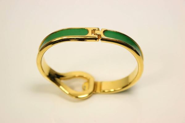 charles-jourdan-gold-plated-green-leather-bracelet