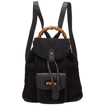 gucci-black-suede-bamboo-backpack