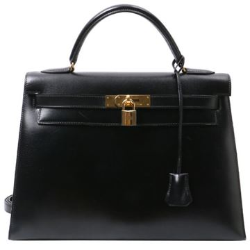 Hermes Black Kelly 32cm Bag
