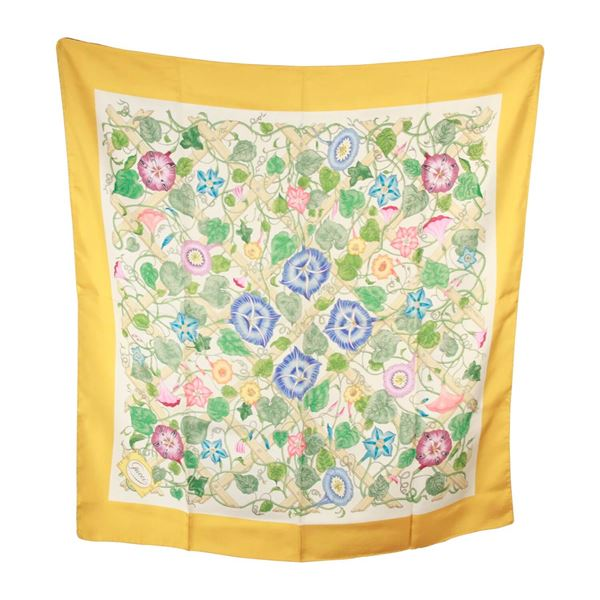 Gucci Vintage Yellow Floral Silk Scarf