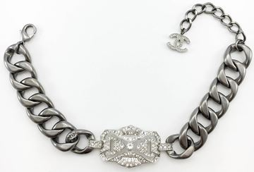 Chanel Runway Look Diamante Embellished Grey Chunky Chain Choker Necklace - 2014