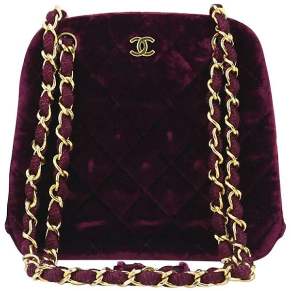 Chanel Burgundy Velvet Kiss Lock Shoulder Bag   Open for Vintage 2fdba84a59