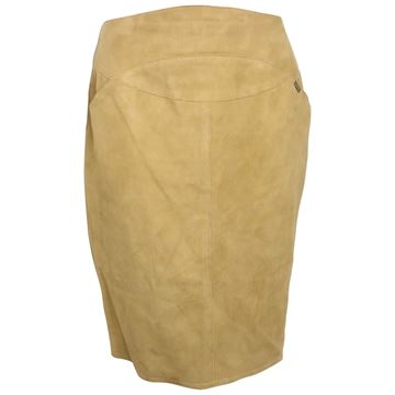 Picture of Chanel Beige Suede Lambskin Leather Knee Length Pencil Skirt