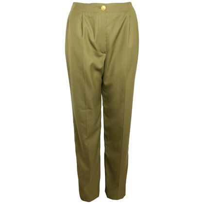 Picture of Chanel Army Green Wool Military Style Straight Leg Pants