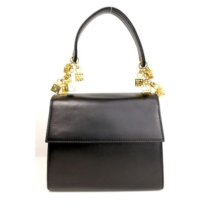 Picture of Escada Black Leather Gold Dices Flap Handbag