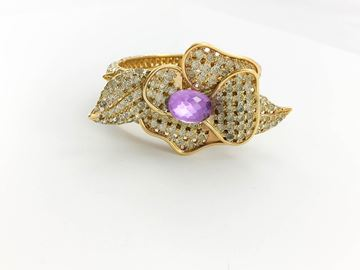 Valentino Diamante and Faux Amethyst Gilt Flower Bracelet - 1990's