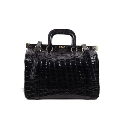 aldo-raffa-black-embossed-patent-leather-travel-bag-carry-on-suitcase